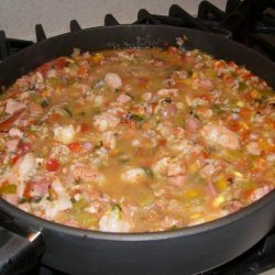 Chicken, Shrimp, and Ham Jambalaya recipe