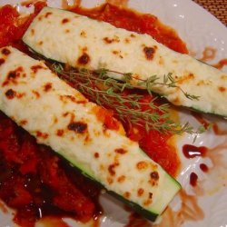 Zucchini Filled With Three Cheeses With Homemade Tomato Sauce recipe