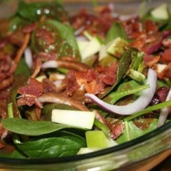 Warm Spinach Salad With Apples, Bacon, and Cranberries recipe