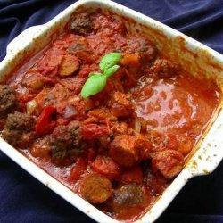 Italian Tomato Sauce With Meatballs and Sausage recipe