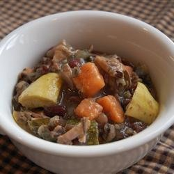 Chicken Soup with Adzuki Beans, Escarole, and Sweet Potato recipe