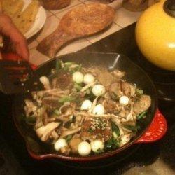 Pancetta & Boursin Polenta With Sauteed Mixed Mushrooms recipe