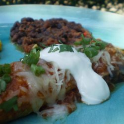 Tomato Sauced Enchiladas With Sour Cream and Aged Cheese recipe