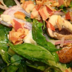 Warm Spinach Salad With Pancetta and Gorgonzola Dressing recipe