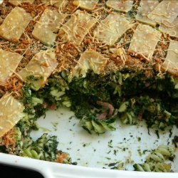Spinach and Hot Ham Baked Pasta With a Crispy Top recipe