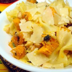 Pasta Pan-Fried With Butternut Squash, Fried Sage, and Pine Nuts recipe