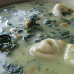 Creamy Chicken, Spinach and Tortellini Soup recipe
