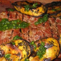 Grilled Skirt Steak and Sweet Potatoes With Herb Sauce recipe