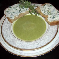 Zucchini Soup With Pumpernickel and Quark Toasts recipe