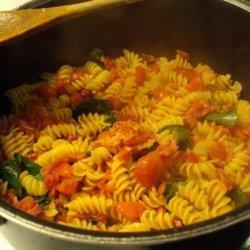 Fusilli With Tomatoes, Spinach, and Prosciutto recipe