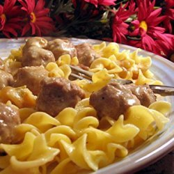 Easy and Yummy Meatballs over Buttered Noodles recipe