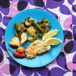 Fish With Basil and Lemon Roasted Vegetables recipe