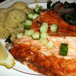 Salmon Fillets With Dill Couscous and Spicy Kale recipe