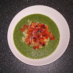 Puree of Green Things Soup with Quinoa and Pepper Relish recipe