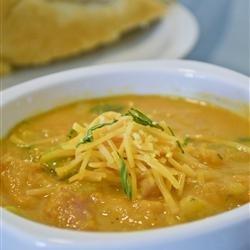 Sweet Potato, Potato, Leek, and Ham Soup recipe