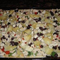 Greek Pizza With Chicken and Artichokes recipe
