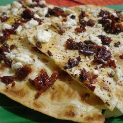 Lavash Pizza With Hummus, Feta and Sun-Dried Tomatoes recipe