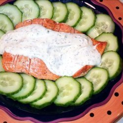 Grilled Salmon With Chive and Dill Sauce and Cucumbers recipe