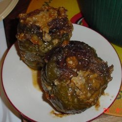 Bell Peppers.... Stove Top Beef-Stuffed Red or Green Peppers recipe