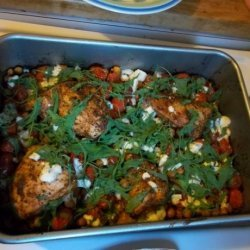 Roast Chicken Breasts With Chickpeas, Tomatoes & Blue Cheese recipe