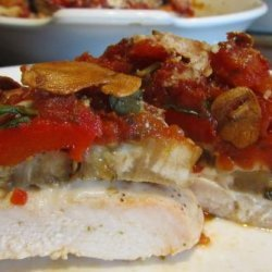Garlic Infused Chicken, Eggplant and Roasted Red Peppers Stacks recipe