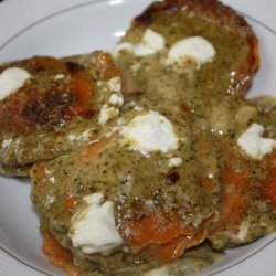 Cheesy Toasted Ravioli With Pesto recipe