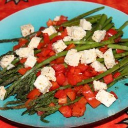 Roasted Asparagus & Peppers With Feta recipe