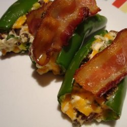 Stuffed Jalapenos Topped With Bacon recipe