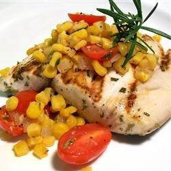 Rosemary Marlin with Roasted Corn and Tomato Relish recipe