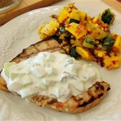 Grilled Swordfish Steaks with Cucumber Sauce recipe