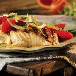 Grilled Halibut with Fennel and Orange recipe