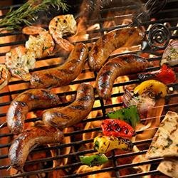 Grilled Sausage with Marinated Shrimp, Peppers and Onions recipe