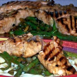 Asian Style Salmon on a Bed of French String Beans recipe