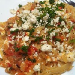 Mediterranean Spaghetti With Tomatoes and Feta recipe