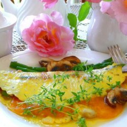 Asparagus, Mushroom and Cheese Omelet With Herbs recipe