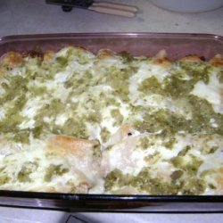 Chicken and Green Chile Enchiladas With Goat Cheese Cream Sauce recipe
