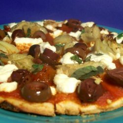 Artichoke, Olive and Goat's Cheese Pizza recipe