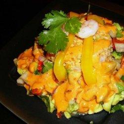 Shrimp Bulgur Salad With Avocado Relish and Chipotle Dressing recipe