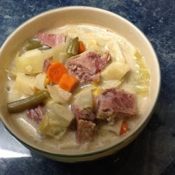 Slow Cooker Corned Beef and Cabbage Chowder recipe