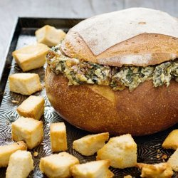 Warm Spinach and Bacon Cob Loaf recipe