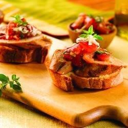 Roasted Pepper and Asiago Chicken Sausage Fresh Tomato Bruschetta recipe
