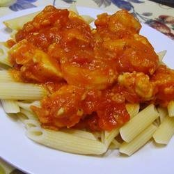 Penne with Chili, Chicken, and Prawns recipe
