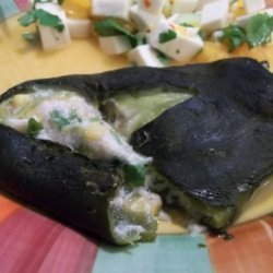 Crab and Goat Cheese Poblanos With Mango Salsa recipe