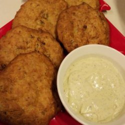 Clam Fritters With Dilly Pesto Dip recipe