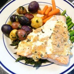Lemon and Basil Salmon With Goat's Cheese Sauce recipe