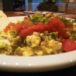 Scrambled Eggs With Poblano Chiles and Cheese recipe