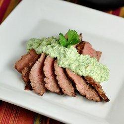 Flank Steak With Cilantro-Almond Pesto recipe