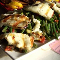 Roasted Halloumi, Bean,  Tomato and Asparagus Salad recipe