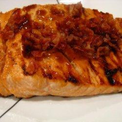 Bourbon Glazed Salmon With Peanuts and Bacon recipe