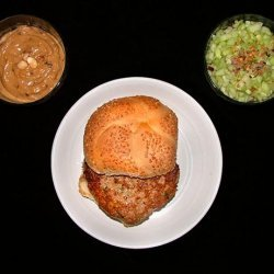 Chicken Burgers with Satay Sauce and Spicy Cucumber Relish recipe